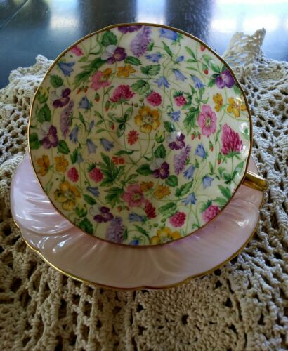 Oleander Pink Country Side Teacup Saucer By Shelley - $260.00
