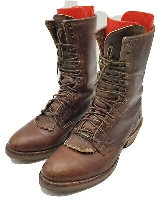 Double H Roper Oil Resistant Lace Up Brown Leather Work Men's Boots Size 10.5 D