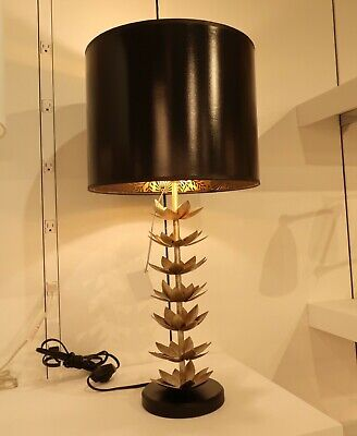 French Chinoiserie Tole Lotus Table Lamp Black Gold Modern Asian Regency MidCent ()