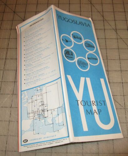 1971 JAT Yugoslav Airlines Fold-Out YUGOSLAVIA TOURIST MAP - VG Condition