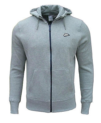 Nike Men's Fleece Full Zip Hooded Hoodie Hoody Sweatshirt Tracksuit Top grey2036
