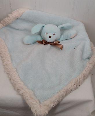 Blankets & Beyond blue soft dog security blanket plush  faux-fur edge
