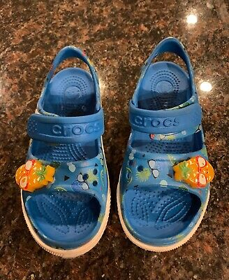 CROCS KIDS LITTLE BOYS GIRLS CROCBAND ll PINEAPPLE LED SANDALS SHOES SIZE 12