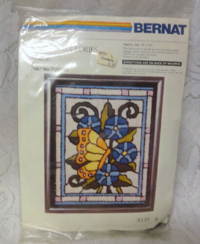 Bernat Quick Stitch Tiffany Morning Glories Needlepoint Kit  8x11