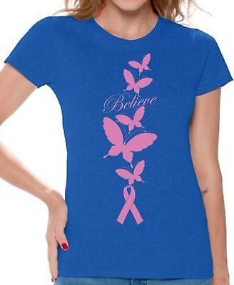 Believe WOMEN T-SHIRT Butterflies Pink Ribbon Breast Cancer Awareness Shirt (Believe Womens Pink T-shirt)