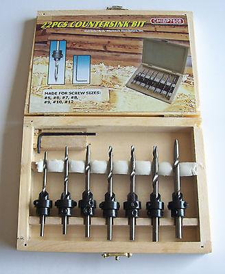 22pc Professional Countersink Drill Bit Set W Wood Box