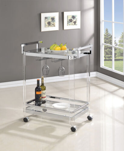 Coaster Home Bar 2-Tier Clear Acrylic and Chrome Glass Serving Cart w/ Wine Rack