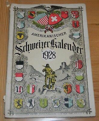 Used, Amerikanischer Schweizer Kalendar 1928 German Language Swiss Switzerland for sale  Henderson