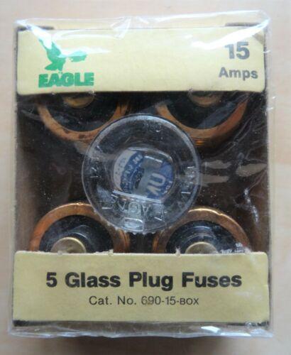 Box of 5 Eagle OK Glass Plug Fuses 15 Amps 125 Volt  #690-15 NIB