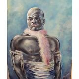 AFRICAN WARRIOR HUGE ORIGINAL OIL ON CANVAS PAINTING SIGNED DATED 1973