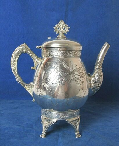 EXQUISITE BOSTON PLATE COMPANY AESTHETIC SILVER PLATED TEAPOT c: 1881 - 1884