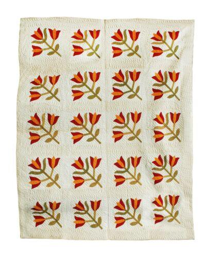 """Antique Quilt, Tulip Design, Circa 1880, 86"""" X 70"""""""