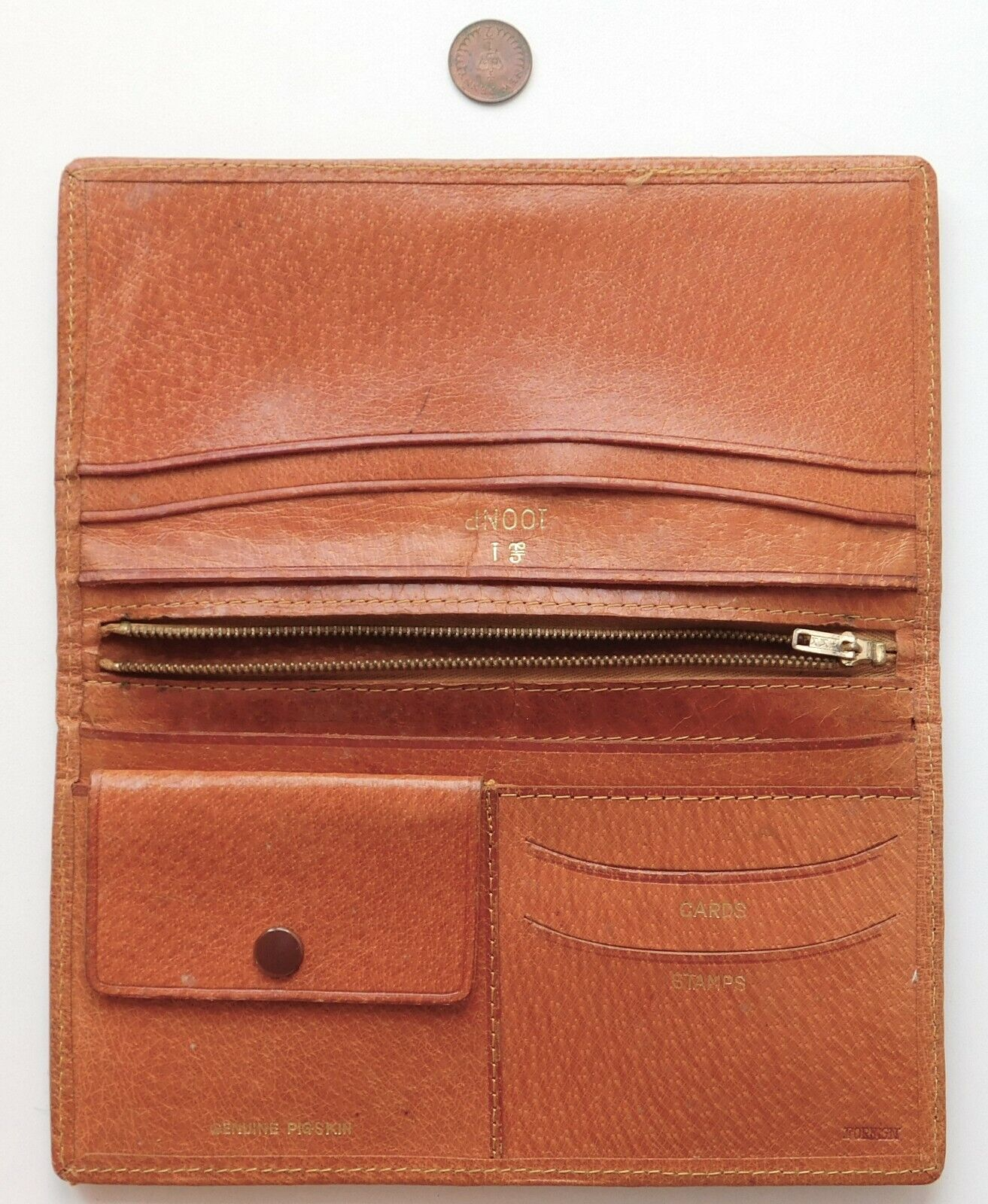 Vintage pigskin wallet with pound note section 100 NP 1960s 1970s Real leather