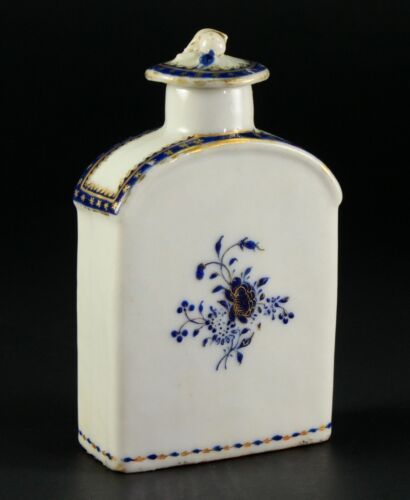 ~1735-1796 QIANLONG Qing Chinese Fine Porcelain Tea Caddy Blue & White, Gold