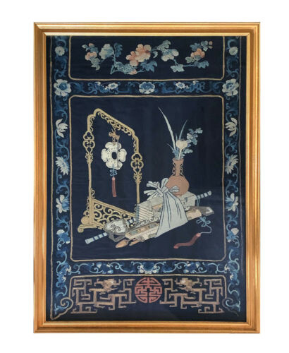 Framed Antique Chinese Embroidery Panel Qing Dynasty