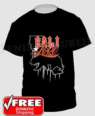 CALI LOVE & State Bear New Men's California T-Shirt Cali Black Tee Dark Orange