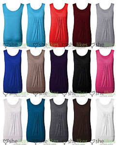 Womens-Sleeveless-Vest-Top-Ladies-Pleated-Gather-Long-Vest-Tee-Top-UK-8-To-14