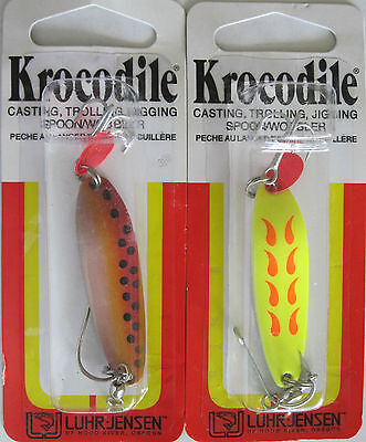 2 - Luhr-jensen Krocodile Spoons - 1/4 Oz. - Two Popular Colors