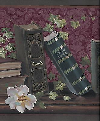 VICTORIAN LIBRARY BOOKS AND MAGNOLIAS WALLPAPER BORDER