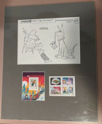 """The Jetsons Stamp Set"" Lithograph Matted Sealed Elroy Jetson Astro Orbitty Cute"