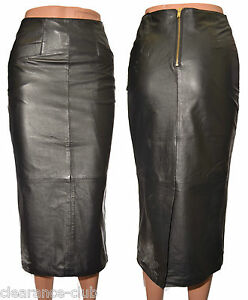 black leather calf length pencil skirt fully lined premium