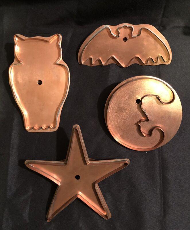 Set of 4 Martha Stewart By Mail Copper Cookie Cutters BAT OWL MOON & STAR