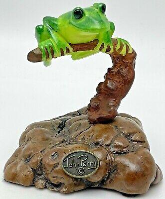 John Perry Sculpture Tree Frog Yellow & Green with Manzanita Burlwood Figurine
