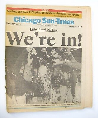 Chicago Cubs Newspaper 1989 Were In  Chicago Sun Times Complete Paper Unread