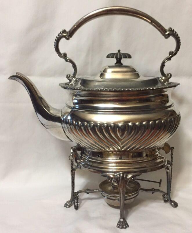 Fenton Brothers FBrs Ltd of Sheffield Tea Pot Kettle with Burner #1353