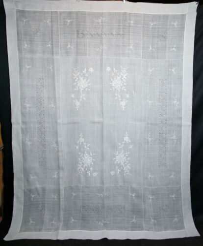 """Vintage Grass Cloth Tablecloth 1930s Embroidered Floral Whitework  87"""" x 68-1/2"""""""