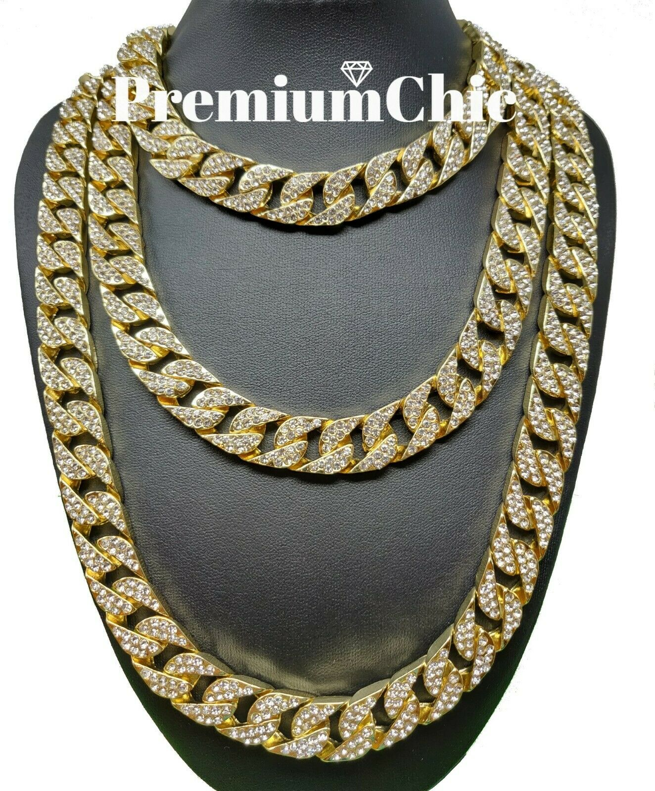 """Men 14K Gold Plated 15mm 20/"""" Miami Cuban Choker Chain Necklace Jewelry"""