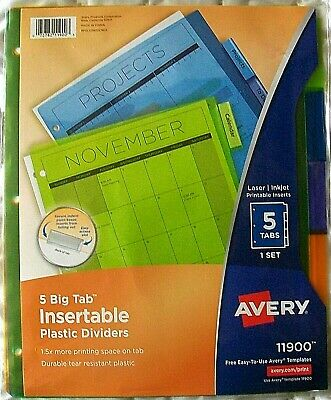 Avery 5 Big Tab Insertable Plastic Multicolor Dividers Laser/Inkjet Printable Avery Big Tab Insertable Dividers