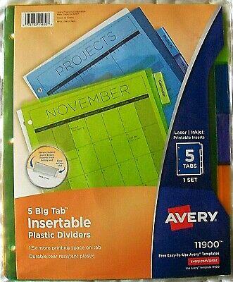 Avery 5 Big Tab Insertable Plastic Multicolor Dividers Laserinkjet Printable
