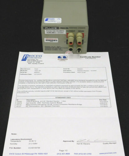 Fluke 742A-10K Resistance Standard w/cal cert from Process Instruments, GOOD!