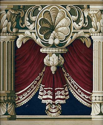 Victorian Blue and Green on Burgundy Drapery Swag w/ Columns WALLPAPER BORDER