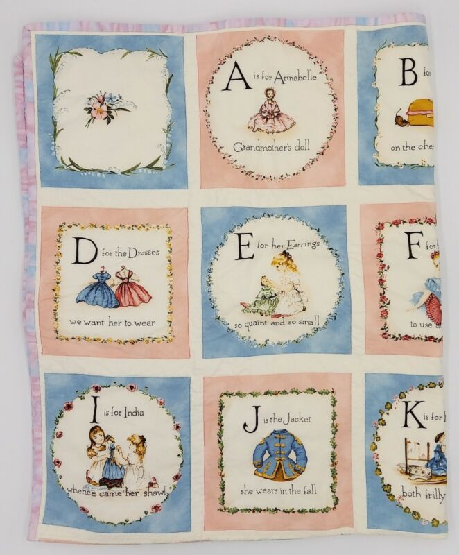 Handmade Baby Quilt Girls Crib Bed Alphabet Block A Is For Annabelle 40.5 x 50.5