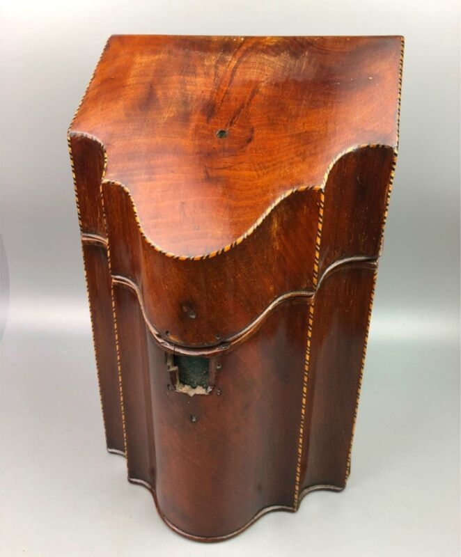 Antique George III Mahogany Marquetry Star Knife Box Chest