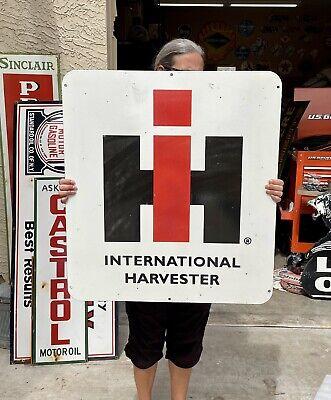 """VINTAGE INTERNATIONAL HARVESTER 30"""" DOUBLE SIDED NOS BLEM PORCELAIN SIGN"""