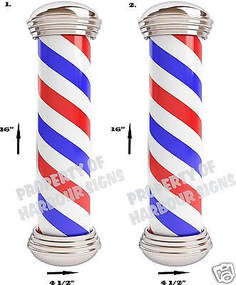 "DECAL Barber Shop Poles 16""x4 1/2"" each Hair Cut Care Vinyl Sign for Window"