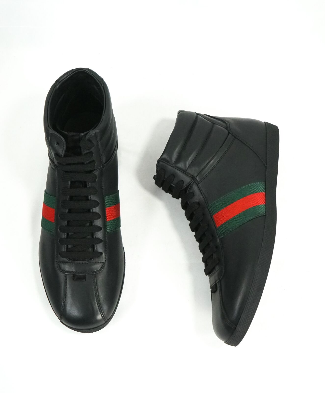 $700 GUCCI -Red and Green Logo Stripe GG High Top Black Sneakers - 6G / 6.5 US