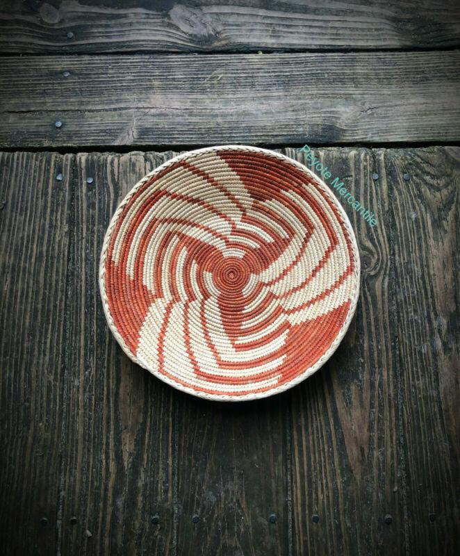 "12.5"" Orange Swirl Design Woven Southwest Basket, Tribal Design"