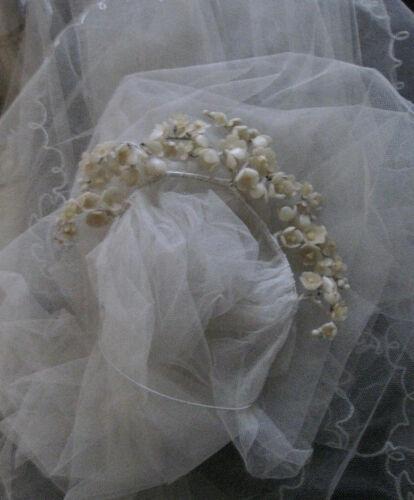 VIINTAGE WEDDING WAX FLOWER CIRCLET AND VEIL, 1920s, Bridal, Nuptials, Costume