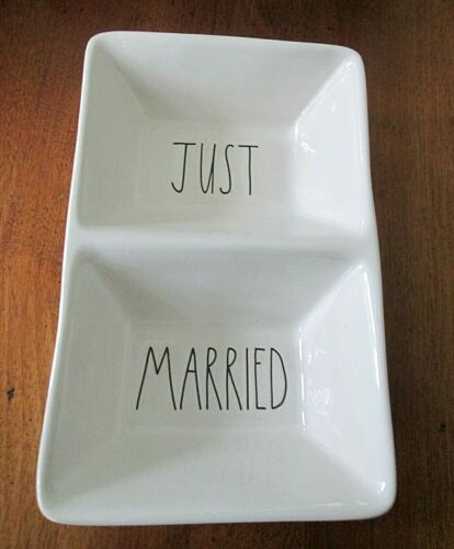 "Rae Dunn Magenta ""Just Married"" Divided Dish Wedding Black Lettering"