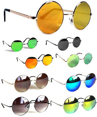 Runde Sonnenbrille Verspiegelt Modern Nickelbrille Lennon Groß Klein S M L XL
