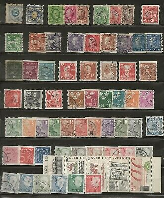 SWEDEN 1872 - 1955. 66 STAMPS INCL. HARD TO GET, PLUS 1983 STRIP