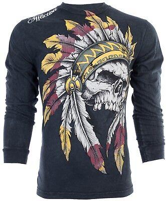 Black Mens Long Sleeve Shirt (AFFLICTION Mens LONG SLEEVE T-Shirt WINDTALKER Indian Skull BLACK Biker UFC $68 )