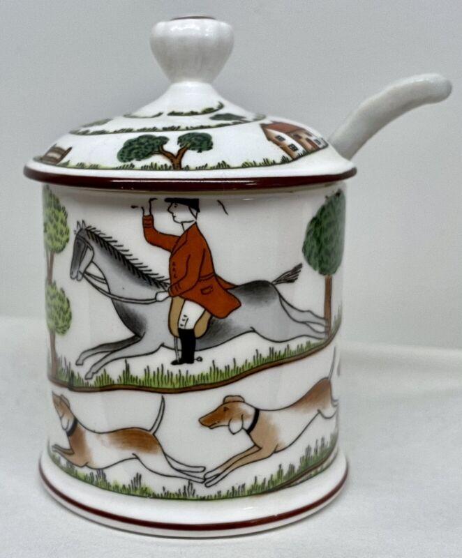 Crown Staffordshire Hunting Mustard Pot w Spoon