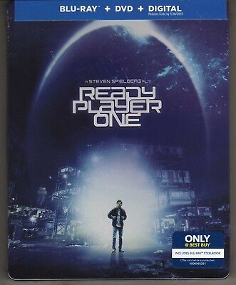 READY PLAYER ONE BLU RAY / DVD / DIGITAL BEST BUY STEELBOOK BRAND NEW (Best Blu Ray Disc Player)
