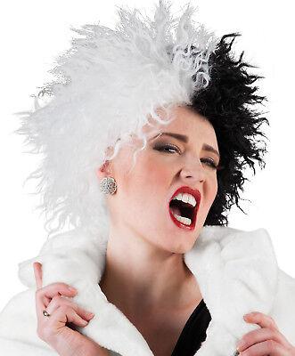 Damen Cruella De Ville Perücke Schwarz & Weiß Dalmations Halloween Kostüm Neu