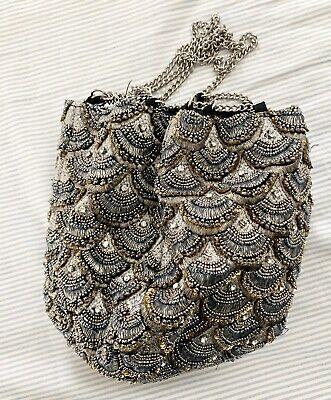 Women Grey Black Silver Metal Beaded Pouch Shoulder Crossbody Zara Bag